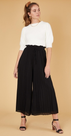 Dylan Pleated Culottes - Black